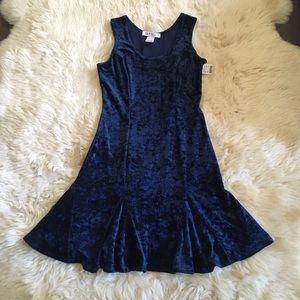Vintage 90s grunge mini dress, blue crushed velvet